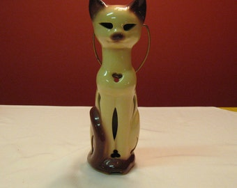 Vintage Siamese Cat Lantern By McCoy Lovely Colors and Design Great for Entrance of any door and useful with candles easy clean up. Cat Love