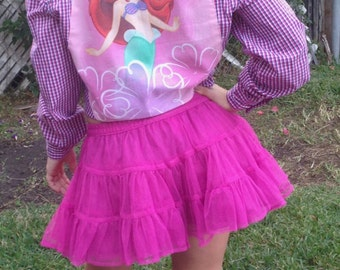 Ariel Shirt- Little Mermaid Shirt- Japanese Lolita Shirt- Sweet Lolita Shirt- J Pop Shirt- Cute Shirt- Vintage Ariel Fabric- Size 6