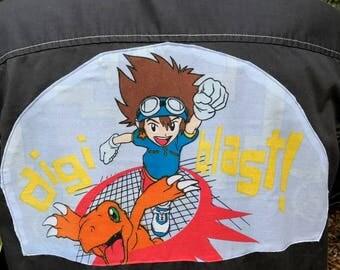 Digmon Shirt- Pokemon Shirt- Japanese Anime Shirt- Manga Shirt- Men's Gift- Vintage Digimon Pokemon Fabric- Upcycled- Size Large