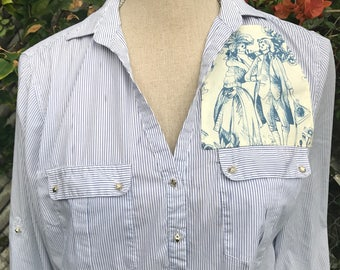 Rockabilly Pin Up Day of the Dead Shirt Toile Shirt Skulls Upcycled Size XL