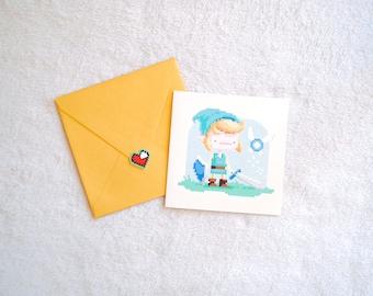 Pixel Art Link greeting card + Zelda heart sticker