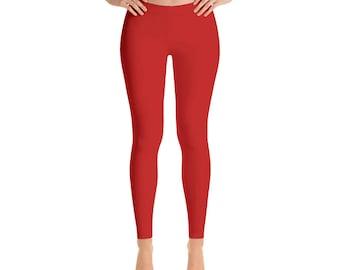 Red Leggings for Women, Mid Rise Waist Workout Pants, Yoga Leggings