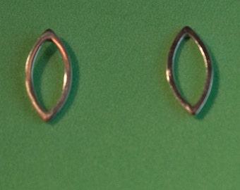"Sterling silver ""Marquise"" stud earrings"