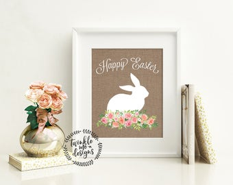 Easter Decoration print Happy Easter Print wall art decor Easter art Easter home decor Easter Prints Easter Sign Easter rabbit print Bunny