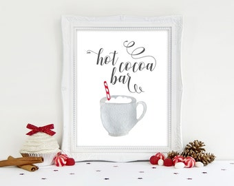 Hot Cocoa Bar, Hot Chocolate Bar Printable Sign 8x10, 5x7,  Holiday Party Printable Sign, Christmas Party Print, Cookie Exchange Decorations