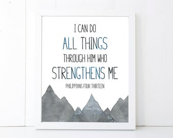 I Can Do All Things Through Him Scripture Printable Wall Art 8x10, 5x7, 11x14, Bible Verse Print, Philippians 4:13, Scripture Digital Print