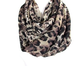 Leopard Scarf Infinity Scarf Brown Scarf Animal Print Scarf Fall Winter Scarf Women Fashion Accessories Christmas Gift For Her For Women Mom
