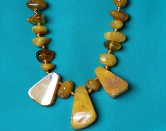 Baltic amber necklace collar -semi polished beads-Nordic style, mix of transparent, butterscotch and egg-yolk tints.