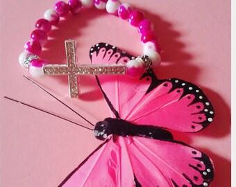 Women's Pink and White Cross bracelet