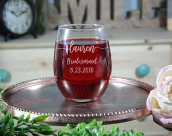 Set of 6 Bridesmaid Stemless Wine Glass, Engraved Bridesmaid Wine Glasses, Bridal Gifts, Bridesmaid Gifts, Bridal Gifts, 6 stemless wine