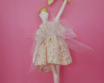 Mobile dancer and the star, liberty of london atelier brunette, original design, home decor child, girl, baby mobile