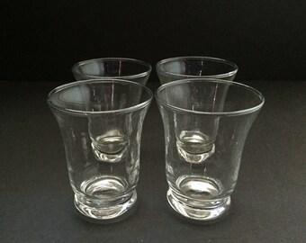Vintage Clear Flared Juice Glasses - Set of 4