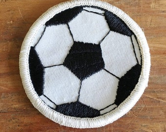 Vintage Soccer Patch   Soccer Patch for Jackets and Vests   Black and White Soccer Patch