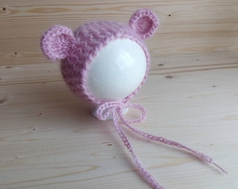SALE, Mohair Newborn Hat, Newborn Bear Hat, Newborn Animal Hat, Newborn Photo Props, Newborn Girl Hat, Newborn Hat, Mohair Newborn