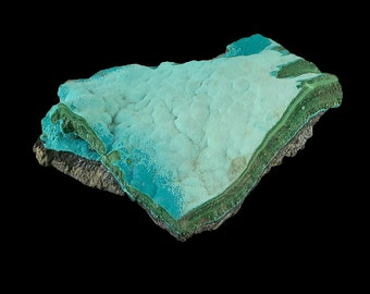 """Chrysocolla Botryoidal & Malachite Crystal Cluster 4.4 oz. Raw from the Congo 2 3/4"""" A1073"""