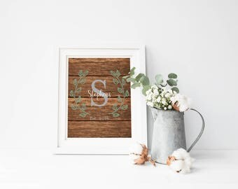 Family Letter Initial Established Year Print, Custom Laurel Greenery Wreath Rustic Wood Wedding Printable, Printable Digital Invitation