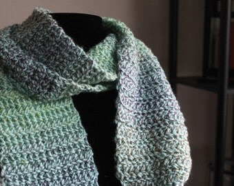 Green Multicolor Handmade Crocheted Scarf
