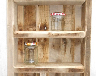 Shabby Chic Driftwood Reclaimed Wood Trinket Display Shelving Unit