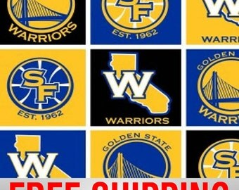 """Fleece Fabric Golden State Warriors 60"""" Wide. Style# GOLD-5011. Free Shipping."""