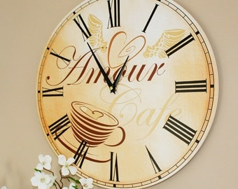 "Kitchen Wall Clock - 'Amour Cafe' (16"")"