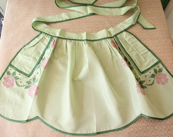 Vintage Embroidered Half Apron Green with Pink Roses Hostess Apron with Hidden Pockets