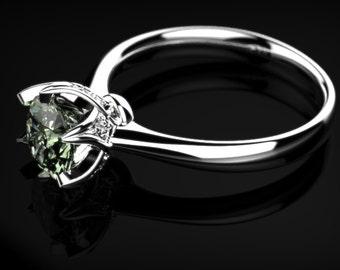 Green Amethyst Engagement White Gold Prasiolite ring Prasiolite Ring Green Amethyst Ring Gemstone Green Amethyst Ring Unique Engagement Ring