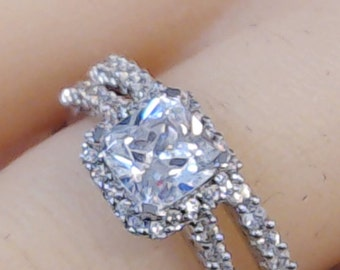 Engagement/Wedding/Anniversary Chad Allison Princess Cut Halo Design Simulated Diamond Ring And matching Band