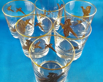 Wild Bird Lo Ball Whiskey Glasses Mid Century Barware