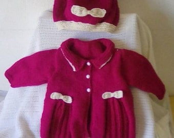 Baby Girl's coat, beret and shoes set
