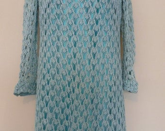 Vintage 1960, 1970 Turquoise Crochet Dress. Kleshie Bellman handmade. Size 12/14