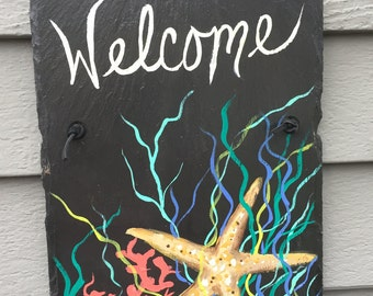 small hand painted coastal slate wall hanging coastal decor