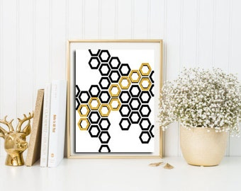 Gold foil print, Geometric wall art, Printable wall art, Modern poster print, black and white artwork, minimalist print, scandinavian art