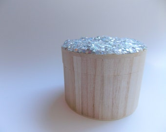 Glitter Lid Wooden Keepsake Box