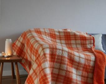 Orange Retro Design Wool blanket / Wool Throw orange retro checkered design / Woolen Blanket - Vintage
