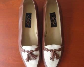 Vintage tassel loafers / brown leather and canvas / 6.5 6 1/2