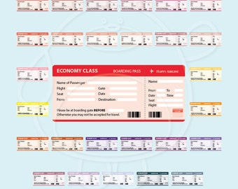 70 Colours - Boarding Pass Digital Clipart - PNG Format - Personal and Commercial Use