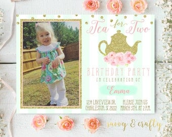 Tea For Two Invitation - Girls Birthday Party Invitation - Two year old Birthday - Tea Party Invitation