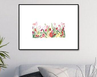 Printable Wall Art Print Tulips Print Printable Watercolor Painting Watercolor Flower Art Flowers Painting Flower Wall Art