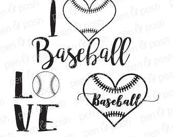 Svg - Baseball Heart SVG - Baseball SVG -  Baseball Love SVG - Baseball Dxf - Baseball Love Dxf - Baseball TShirt Cut Files