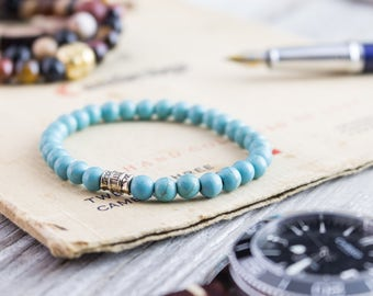 6mm - Turquoise beaded stretchy bracelet, made to order yoga bracelet, womens bracelet, mens bracelet