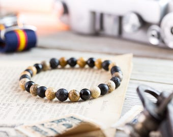 6mm - Black onyx, matte black onyx, brown jasper stone & lava stone beaded stretchy bracelet, yoga bracelet, mens bracelet, womens bracelet