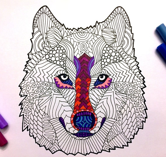 Wolf Head PDF Zentangle Coloring Page