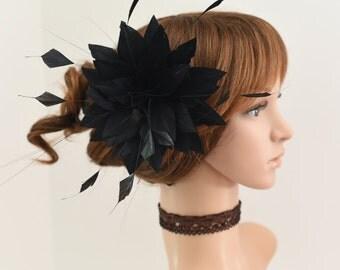 Wedding Fascinator, Bridal Hair Comb,Wedding Hair Comb,Feather Flower Comb Fascinator 13A (Black)