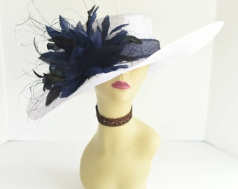 510 (White/Navy) High Quality NEW Kentucky Derby Church Wedding Tea Party Sinamay Feather Flower Wide Brim Dress Hat
