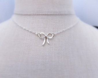 Silver Bow Choker. Free Shipping. Silver Bow Necklace. Sterling Silver. Dainty. Delicate. Tiny. Forget Me Not Necklace. Gift For Her.