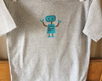 T-shirt gray with blue robot, sz youth large