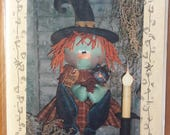 Hallie Ween Door Doll #134 by Patti's Ratties Originals - Hanging Primitive Witch Doll - Uncut Primitive Craft Sewing Pattern