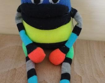 Sock oddity * sock monster * sock monkey * cute * stripes * art doll  * doll * neon