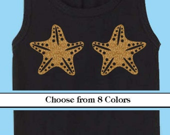 Starfish Mermaid Iron On- Glitter vinyl -Choose your Color
