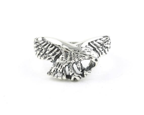 Sterling Silver Eagle Ring, Bird, Biker Jewelry, Motorcycle Jewelry, Boho, Bohemian, Gypsy, Festival Jewelry, Animal Jewelry